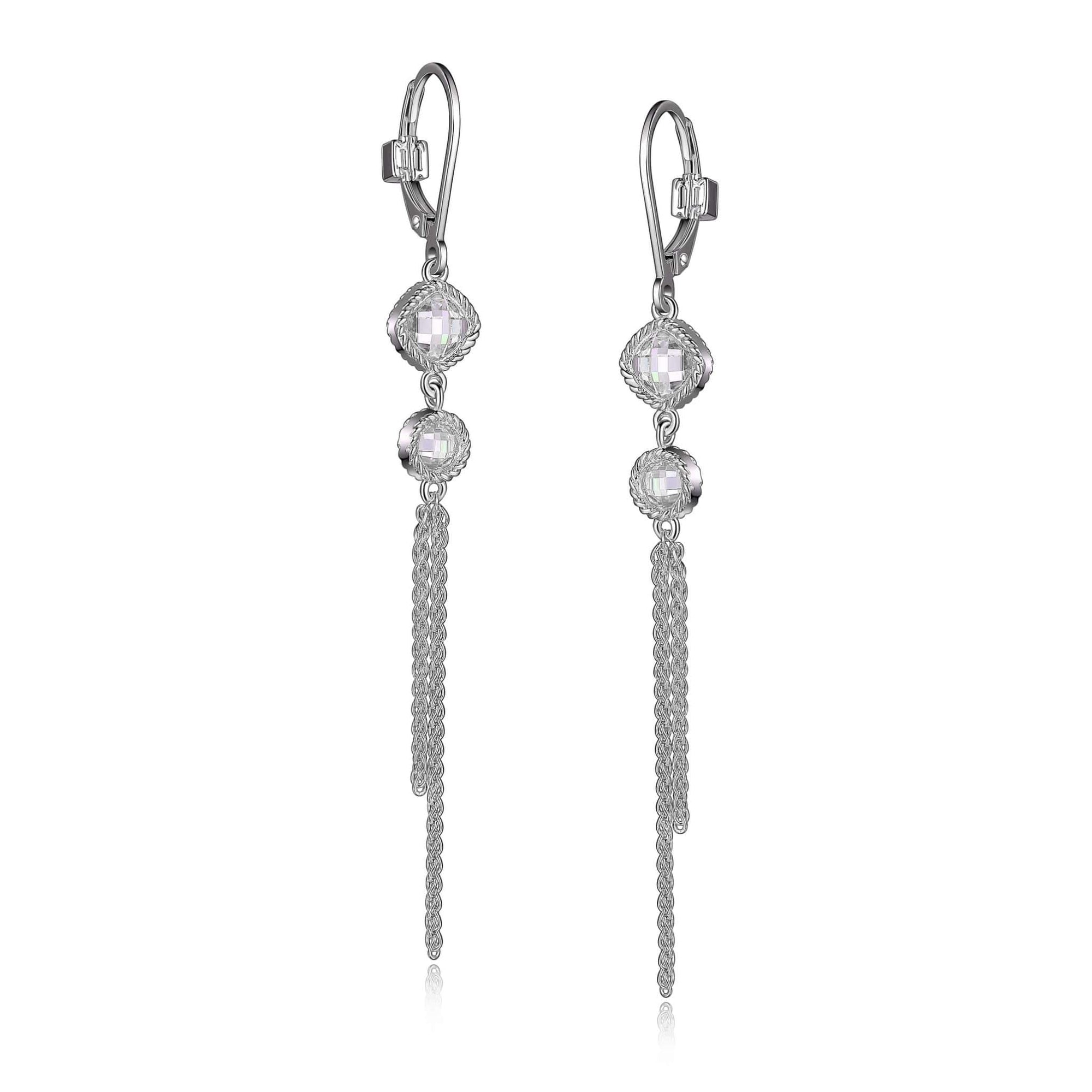 ELLE Essence CZ Long Chain Leverback Silver Earrings