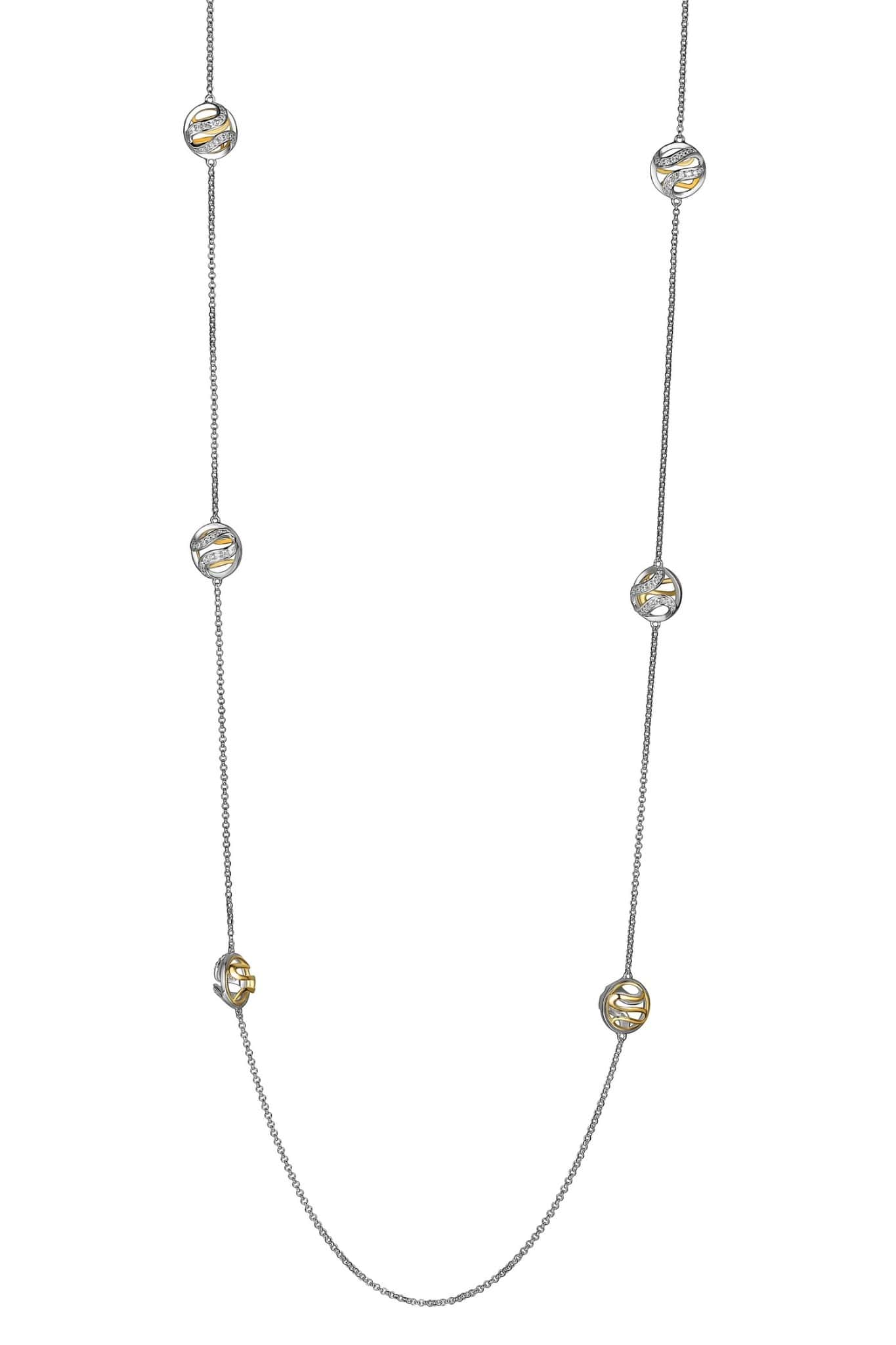 ELLE Moon Shadow 3D Circle Silver Station Necklace at Arman's Jewellers