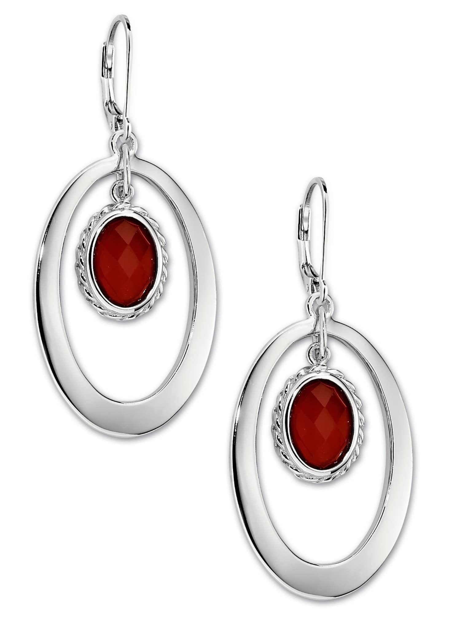 ELLE Perimeter Red Agate Silver Leverback Earrings at Arman's Jewellers