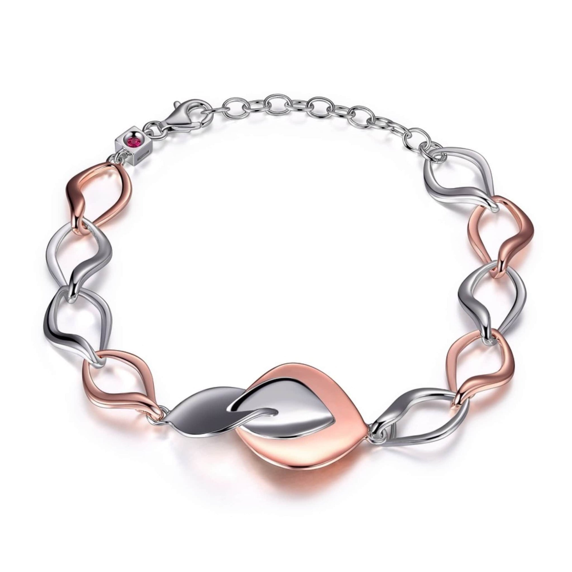 ELLE Rose Petal Two-Tone Silver Bracelet at Arman's Jewellers
