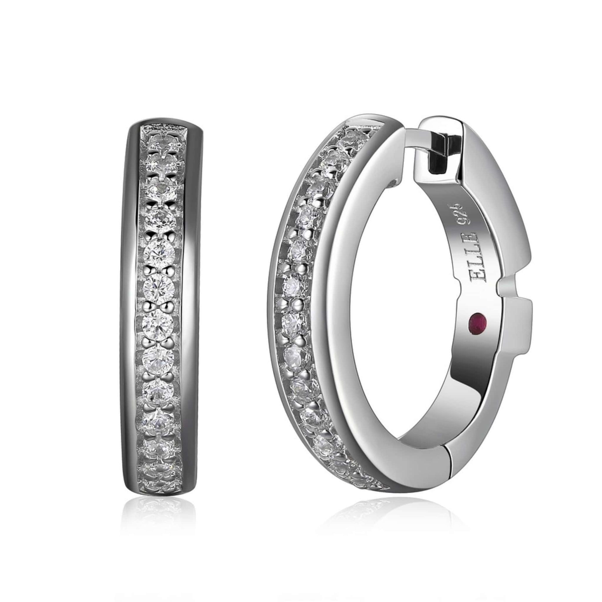 ELLE Small Round CZ Silver Hoop Earrings at Arman's Jewellers