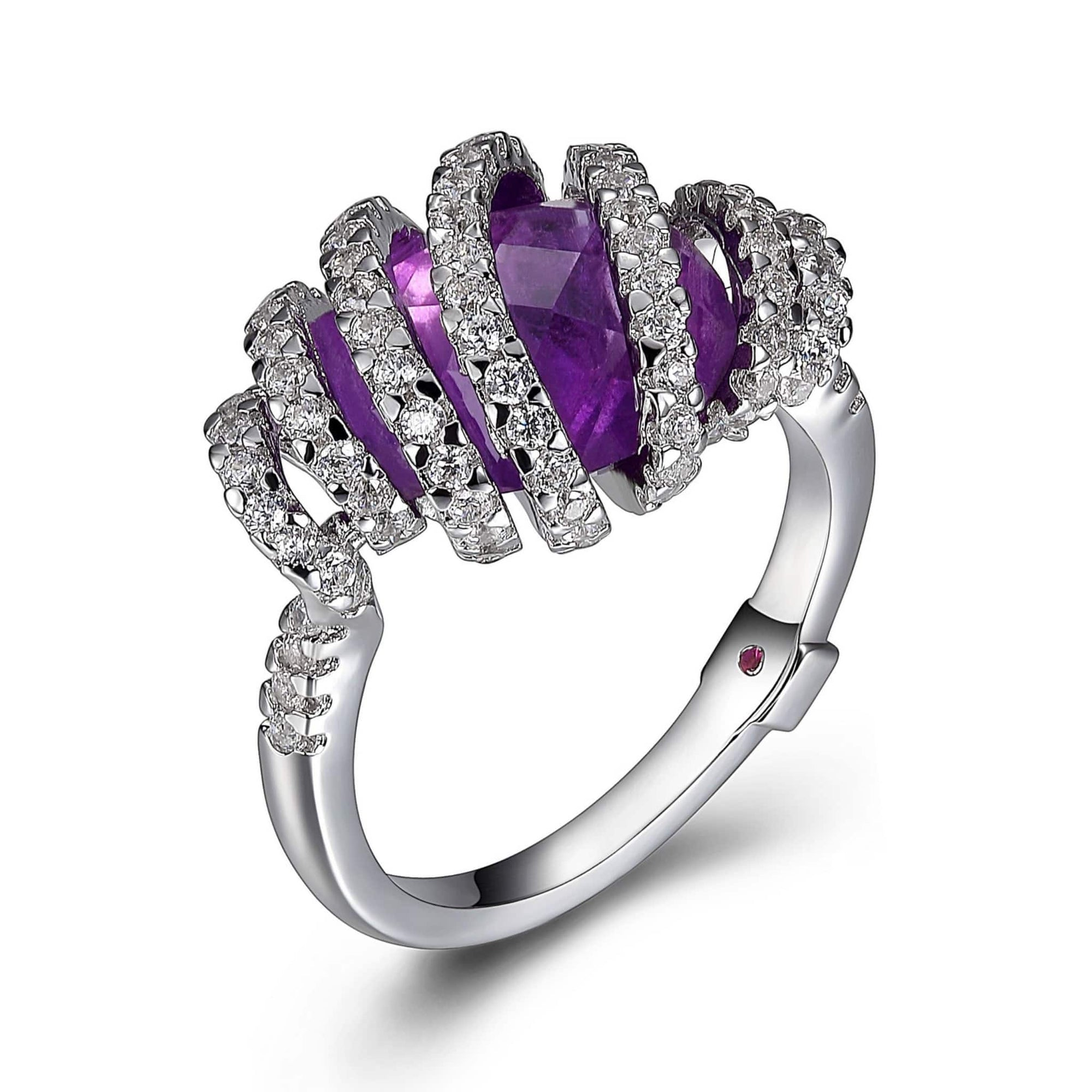 ELLE Spiral Amethyst Silver Ring at Arman's Jewellers