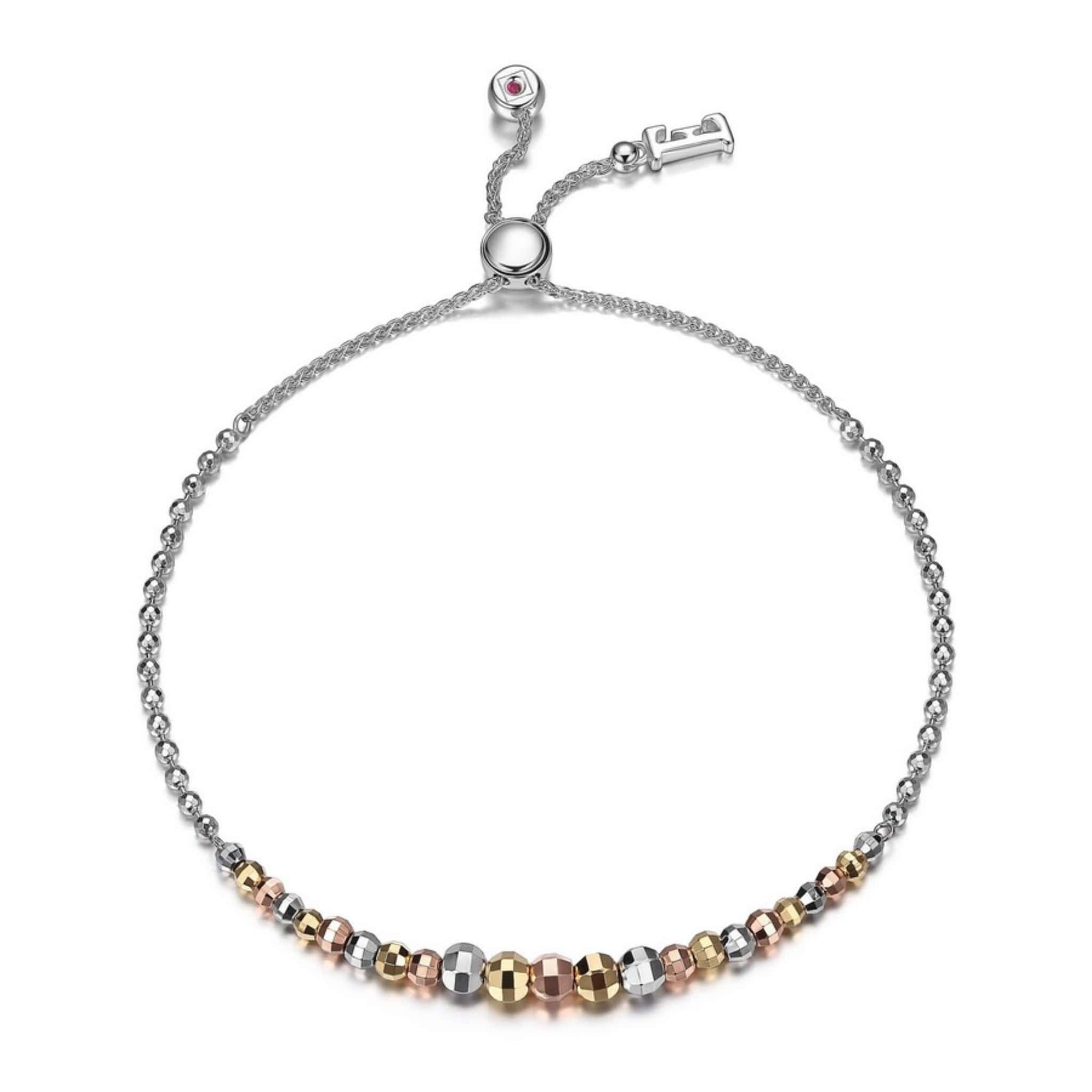 ELLE Waterfall Tri-Colour Bead Bolo Bracelet at Arman's Jewellers