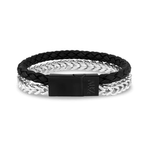 Franco Link + Black Leather Steel Clasp Bracelet at Arman's Jewellers