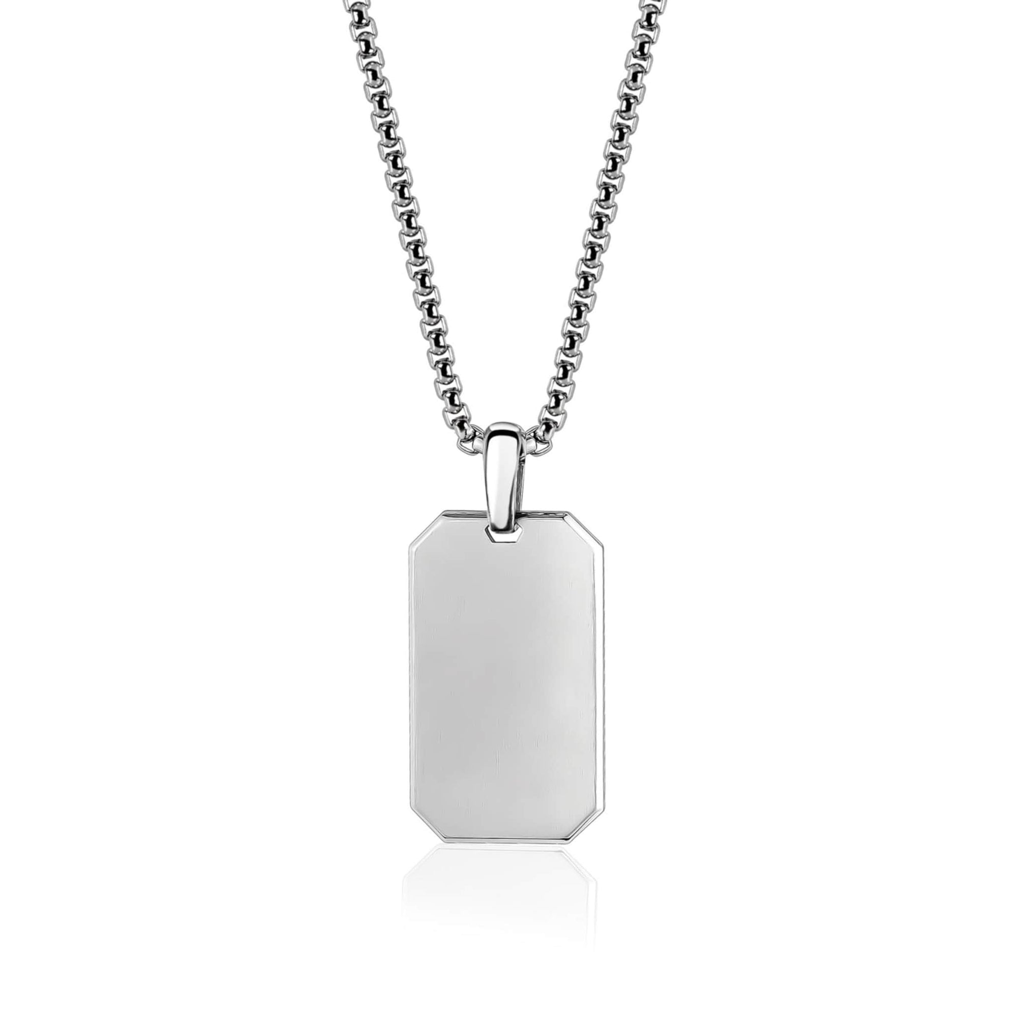 "Matte Engravable Steel Dog Tag Pendant W/ 26""  Chain at Arman's Jewellers"