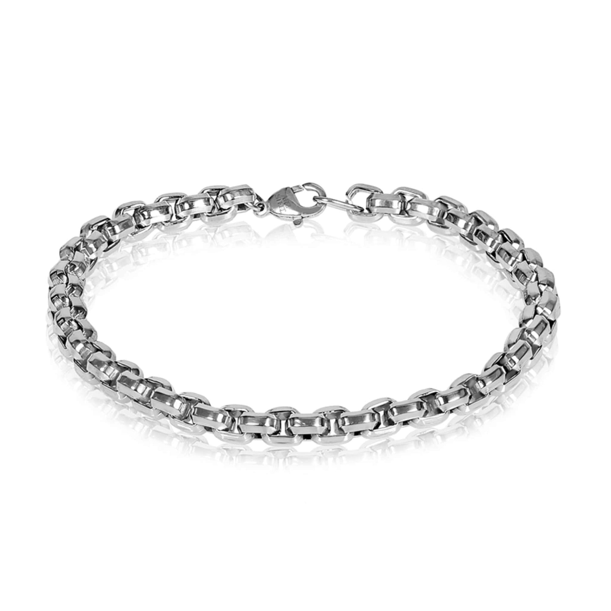 Men's 6mm Diamond Cut Round Box Steel Bracelet