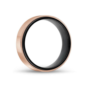 Men's 7mm Black & Rose Gold Steel Ring at Arman's Jewellers Kitchener