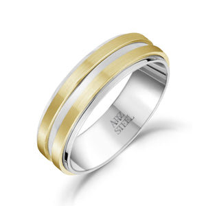 Men's 7mm Men's Gold Double Row Steel Band at Arman's Jewellers Kitchener