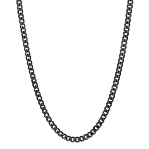 Men's 8mm Men's Black Steel Cuban Link Chain Necklace at Arman's Jewellers