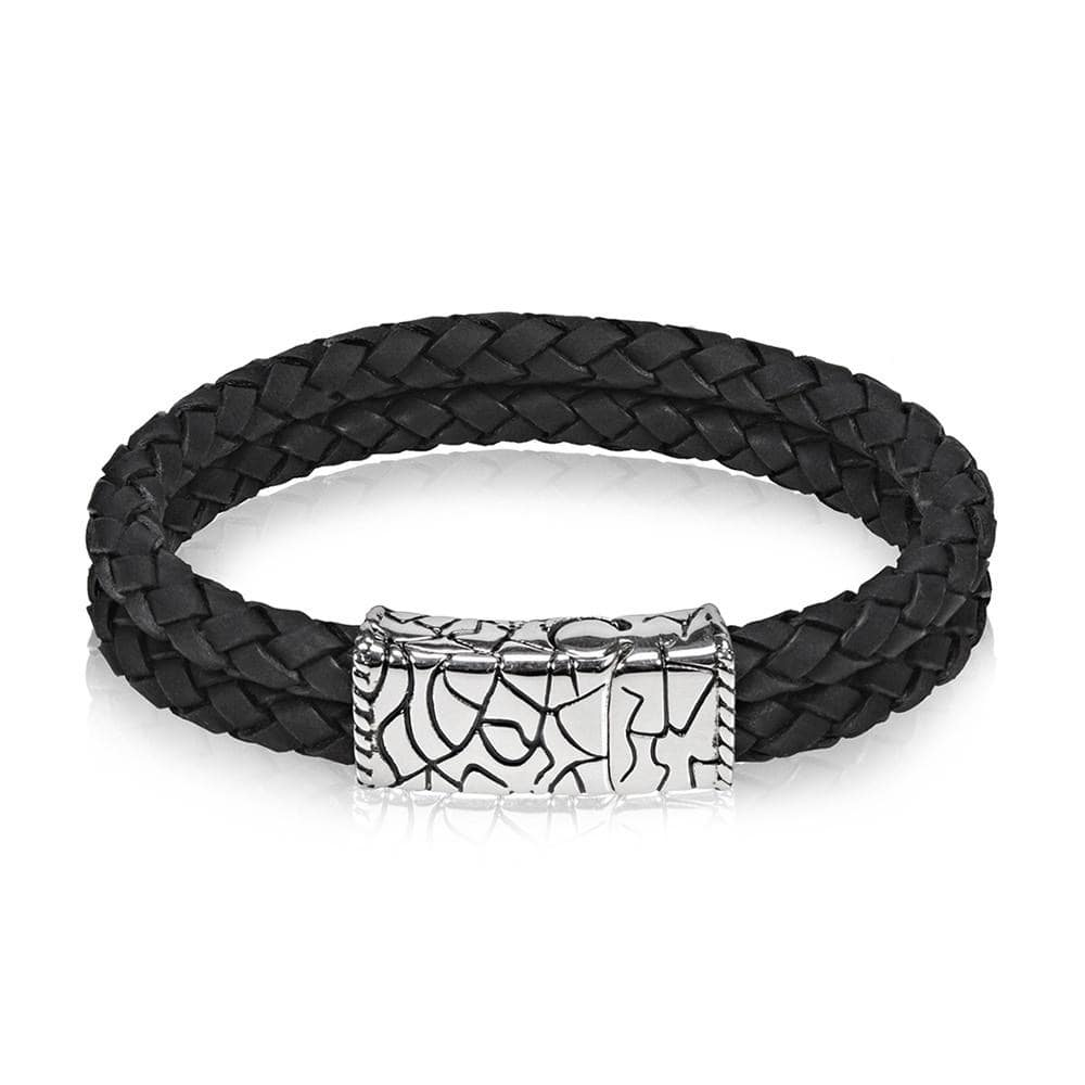 Men's Double Row Black Leather Bracelet at Arman's Jewellers Kitchener