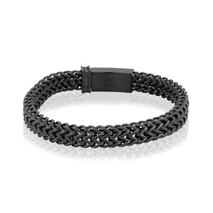 Men's Steel Black Double Franco Link Bracelet at Arman's Jewellers