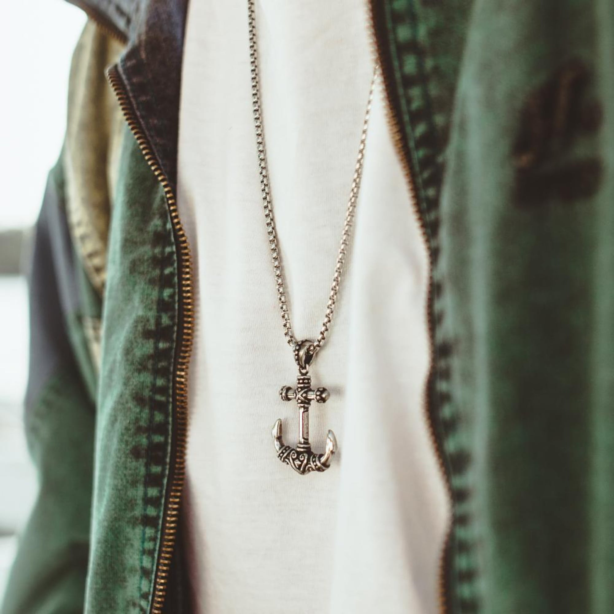 Mens' Steel Rebel Anchor Pendant with Chain at Arman's Jewellers Kitchener