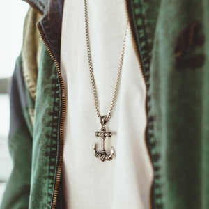 Mens' Steel Rebel Anchor Pendant with Chain on Model at Arman's Jewellers Kitchener