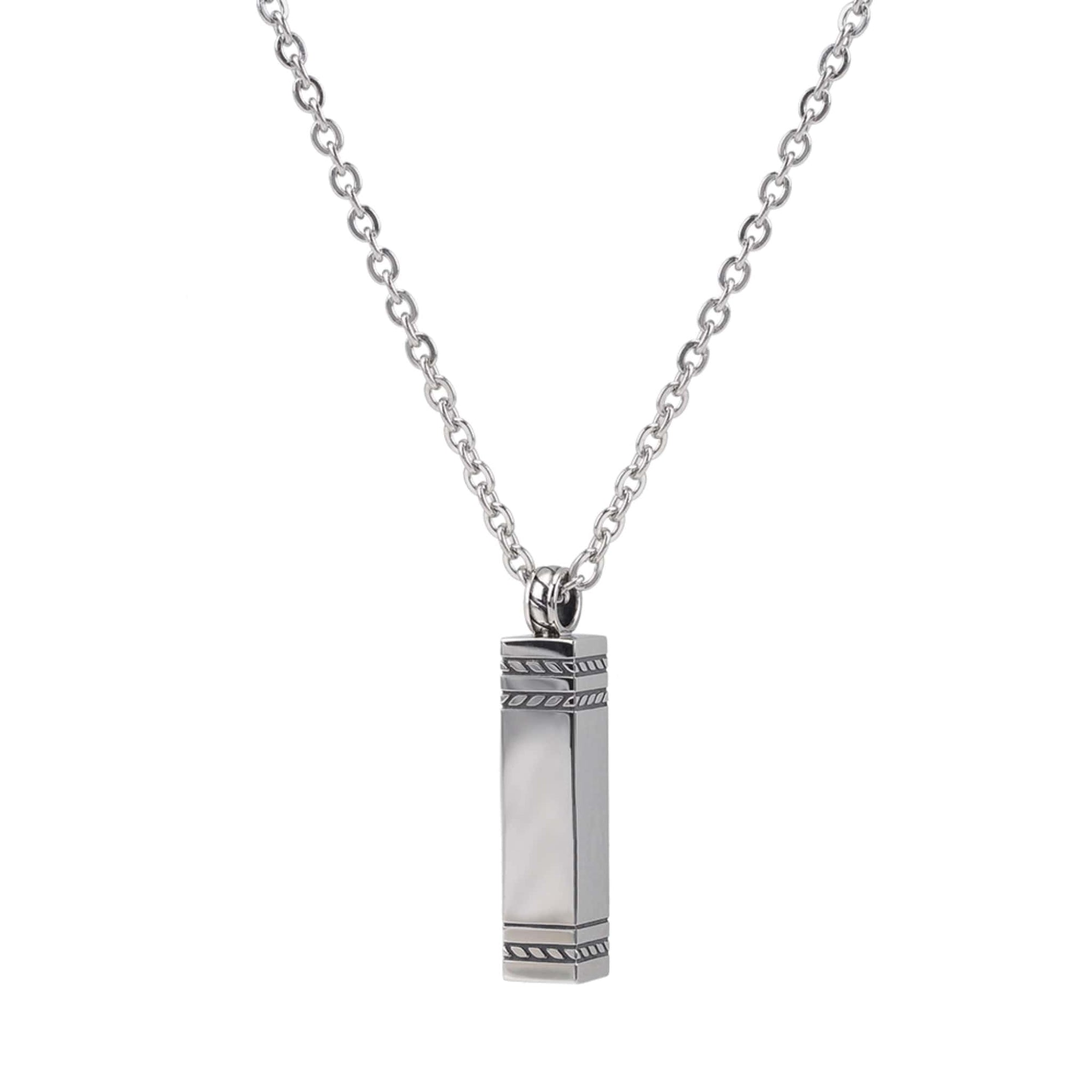Rectangle Stainless Steel Cremation Pendant at Arman's Jewellers