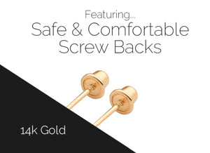 Safe and comfortable Bella Baby screw back earrings at Arman's Jewellers