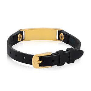 Unisex Stainless Steel Black Leather Gold ID Bracelet at Arman's Jewellers Kitchener