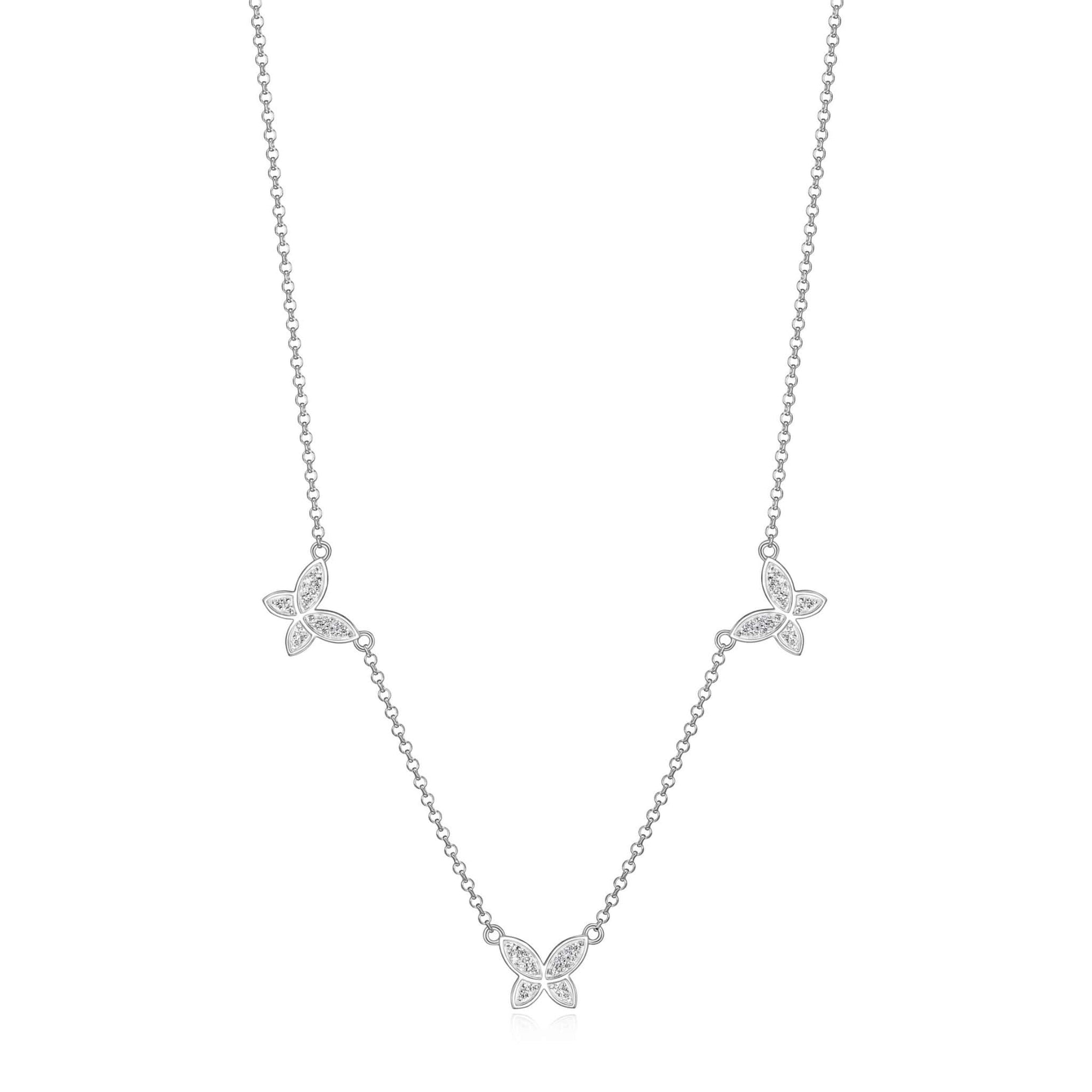 Triple CZ Butterfly Silver Station Necklace at Arman's Jewellers
