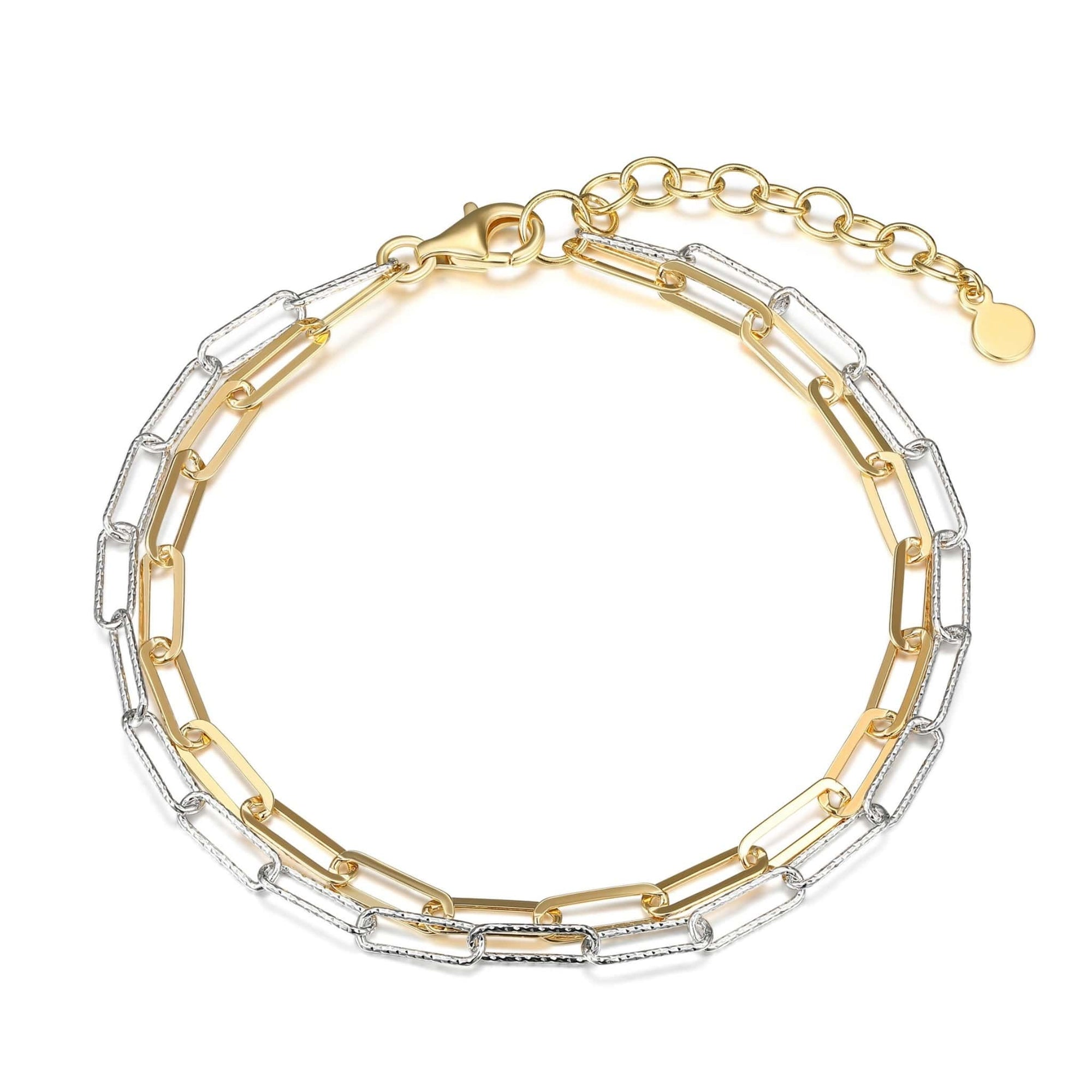 Two-tone Double Strand Paperclip Link Silver Bracelet at Arman's Jewellers