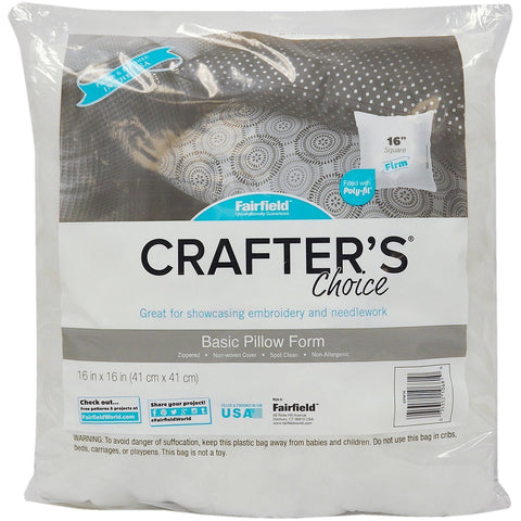 "Fairfield CPW16 Crafter's Choice Pillow Insert, 16"" x 16"", White"