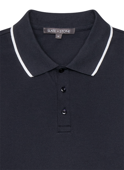 Tipped Long Sleeve Pique Polo