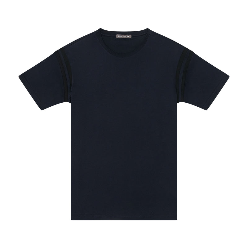 Short Sleeve Contrast Tape Crew Tee