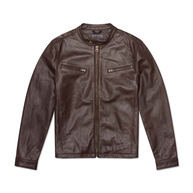 TAB COLLAR LEATHER JACKET