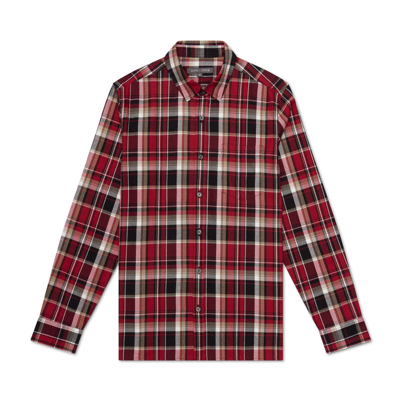 Straight Hem Flannel Shirt
