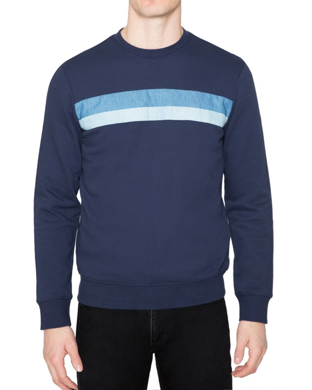 Denim Stripe Sweatshirt