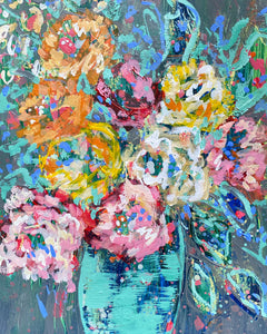 """Love Blooms Here"" - 12x9 Original on Canvas Paper"