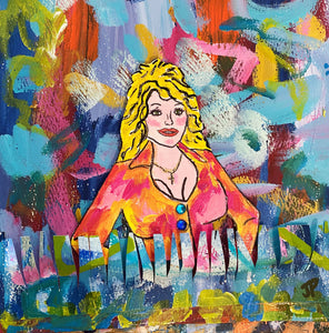 """Dolly"" 8x8 Framed Original Painting on Paper"