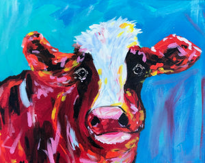 """Melancholy Cow"" Set of 6 Folded Greeting Cards (5x7)"