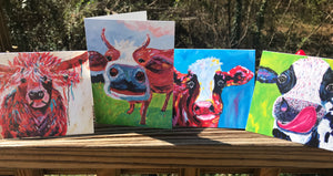 Set of 12 Assorted Cow Collection Folded Greeting Cards (4.25x5.5)