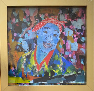 """Tupac"" 8x8 Framed Original Painting on Paper"