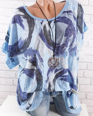 Women Casual Printed Short Sleeve Shirts & Tops
