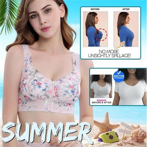 ENJOY SUMMER Front Zipper Wireless Flower Bra