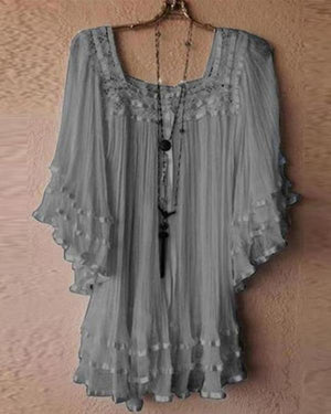 Round Neck Vintage Lace Loose Bat Sleeve Shirt