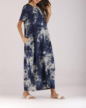 Summer Casual Fashion Crew Neck Short Sleeve Maxi Dress