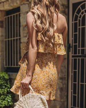 Floral Printed Off Shoulder Ruffle Summer Dress