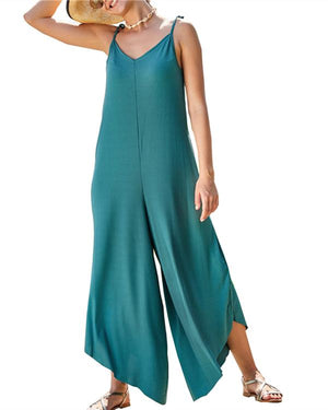 Sling Solid Leisure Loose Casual Summer Jumpsuits