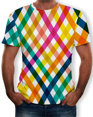 Summer Casual Color Stripe 3D Printing Men's Trend T-Shirt