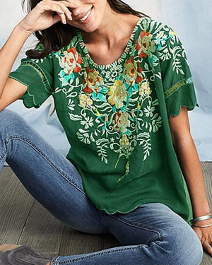 Floral Printed Short Sleeved Casual Crew Neck T-Shirt Top