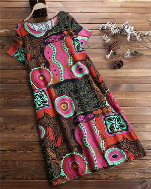Vintage Ethnic Print Short Sleeve Plus Size Dress With Pocket