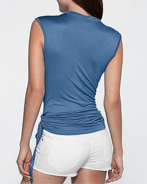 Solid Blue Sleeveless Cowl Neck T-Shirts