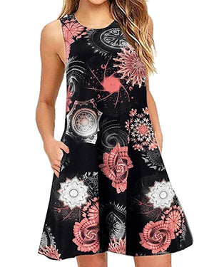 Summer Casual Sleeveless Printed Mini Dress