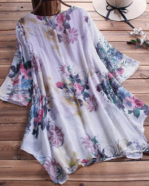 Summer V Neck Casual Floral Printed Plus Size Blouse
