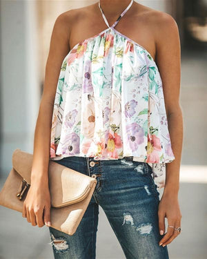 Halter V-Neck Print Chiffon Plus Size Vests Tops