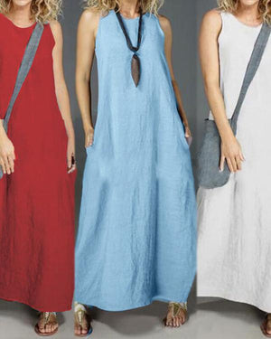 Casual Sleeveless Crew Neck Solid Maxi Dresses