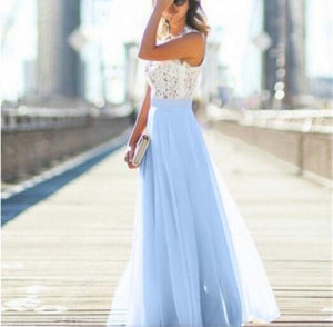 Women's Elegant Solid Lace Tank Maxi Dress