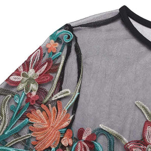 Women's Floral Embroidered See Through T-shirt Tops