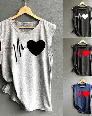 Summer Women New Heart-Shaped Print Vest Shirt
